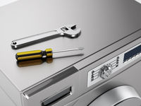 Washing machine, wrench and screwdriver. Household appliance repair concept. 3D illustration