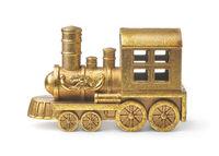 Golden toy steam train locomotive