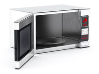 Microwave oven with half open cover. 3D illustration