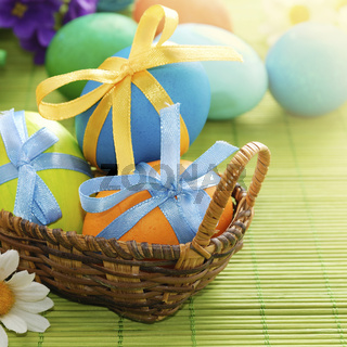 Colorful easter eggs in the basket