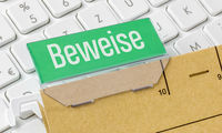 File folder labeled Evidence in german - Beweise