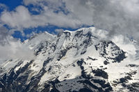 Snow-covered peaks in the Swiss Alps, Saas-Fee, Valais, Switzerland