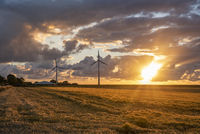 Wind farm in the sunset near Neuharlingersiel