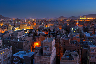 Panorama of Sanaa at night, Yemen