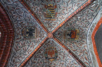 Beautiful ceiling with the coats of arms of the various federal states in the town hall building.