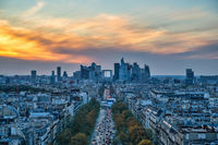 Paris France, high angle view city skyline at La Defrense and Champs Elysees street with autumn foliage season