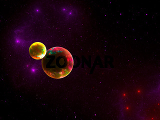 Planet and satellite - abstract space theme background