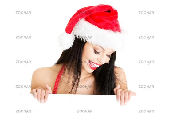 Santa girl holding blank board