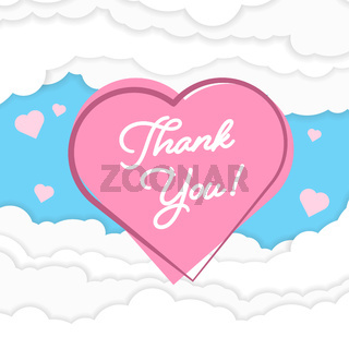 THANK YOU on pink heart against fluffy papercut clouds