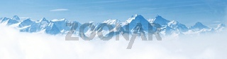 Panorama of Snow Mountain Landscape Alps