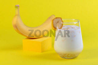 Banana drink with oatmeal milk.