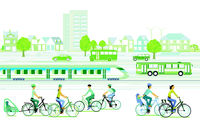 Ecological city with cyclists and passenger train
