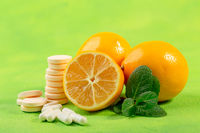 Healthy foods and medicine concept.