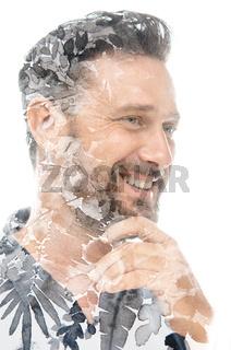 A transparent double exposure portrait of a man