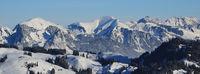 Wintery landscape seen from Horneggli, Switzerland.