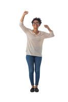 Black woman with arms raised