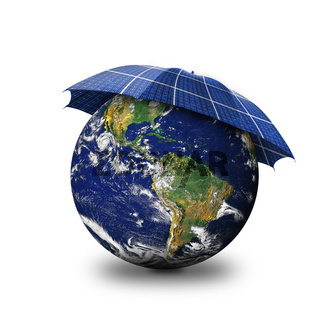 Illustration of earth globe and solar umbrella