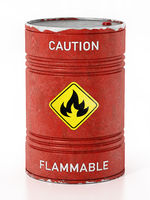 Red barrel with caution flammable warning text and fire symbol isolated on white background. 3D illustration