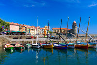 Boats at the harbor in the old town of Collioure, a seaside resort in Southern France