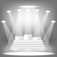 White Cylinder Platforms and Lights. Pidium Winners Levels. Illuminated Sport Pedestal