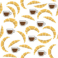 Set of Croissant with Cup of Coffee Icon Isolated on White Background. Seamless Pattern