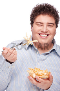 chubby man with French fries
