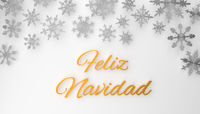 Modern Spanish Merry Christmas background with snowflakes on white