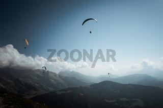 paragliding flight in the mountains. Le Grand-Bornand, France