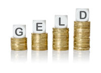 Coin stacks with letter dice - Money - Geld German