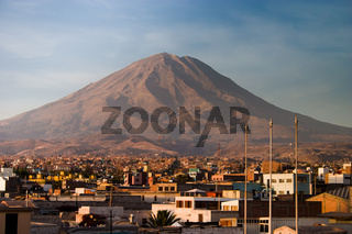 Misti vulcano Arequipa afternoon from a rooftop