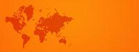 World map on orange wall background. Horizontal banner