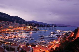 Monaco Harbor at Twilight