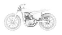 3D rendering of a motorcycle motor bike computer model on white background