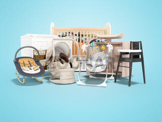 3d rendering of concept baby rocking chair baby bed changing table and pram for baby on blue background with shadow