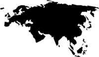 rough silhouette of Europe and Asia, continent isolated on white