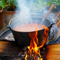 Kettle goulash is prepared over an open fire!