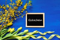 Spring Flowers Decoration, Branch, Blackboard, Gutschein Means Voucher