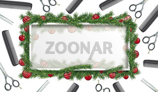 White Frame Green Christmas Twigs Header Scissors Combs