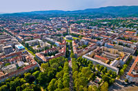 Zagreb aerial. The Mestrovic pavillion and town of Zagreb aerial view