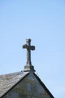 Crucifix on the roof of Alt St. Thomae church, Soest, North Rhine-Westphalia, Germany, Europe