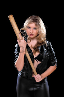 nice young woman with a bat