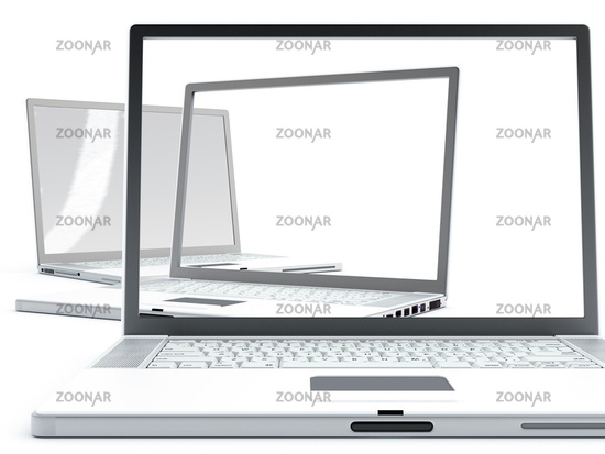 Modern laptops with transparent screens