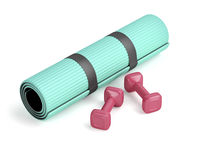 Dumbbells and exercise mat