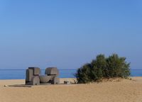 Sculpture at the beach of Piscinas