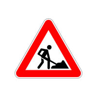 Man at work icon on the triangle red and white road sign on white