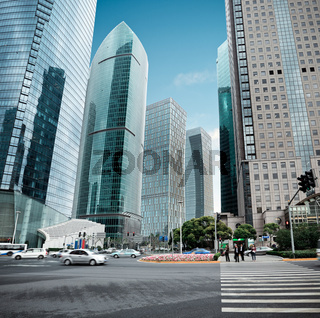 view of the lujiazui financial center in shanghai