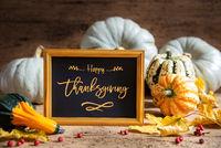 Autumn Pumpkin Decoration, Text Happy Thanksgiving Day, Golden Frame