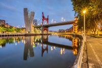 The river Nervion and La Salve Bridge in Bilbao at dawn