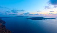 Sea at sunset from Santorini Island in Greece