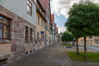 Street with facades of half-timbered houses and trees in Wasungen